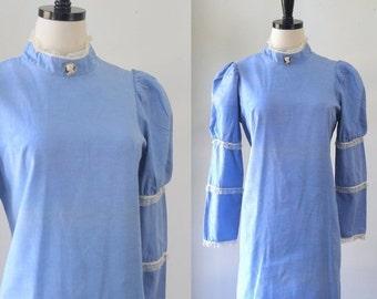 1970s Dress Hippie Clothes Blue Mini Dress Victorian Inspired Steampunk Dress High High Neck Dress 70s Mini Bohemian Clothing Medium Large