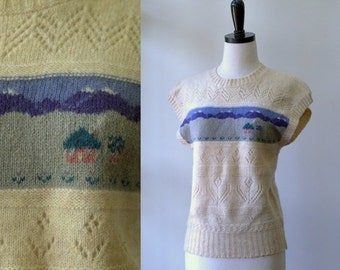 Vintage Wool Sweater 1970s Sweater Pullover Sweater Vest 1970s Clothing Knit Sweater Winter Top Womens Vintage Sweater Size Medium