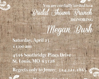 "Bridal Shower Invitation ""Burlap"""