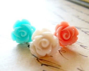 SALE Set of 3 Rose Earrings Mint Green Linen and Coral Flowers Pretty Pastel Shabby Chic Feminine Jewelry Stainless Steel Sensitive Ears Ear
