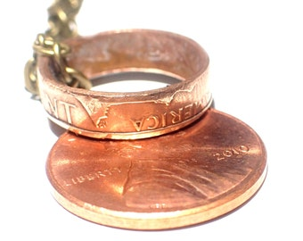 "Penny Coin Ring Necklace A Lucky penny for your thoughts necklace on 18"" brass chain one copper penny"