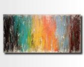 Original Large Abstract painting - 24 X 48 FREE US Shipping Artist JMJartstudio- Intrigue -Wall art-wall decor  Blue painting-Beach Decor