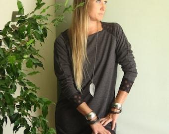 NEW Minimalist Sweatshirt Dress Athleisure Wear Long Raglan Sleeve Tunic Loose Oversize Sweater Fall Dress  XS - XL Lightweight French Terry