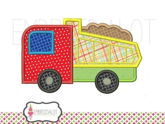 Dump truck applique embroidery design cute by