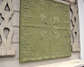 Antique Tin Ceiling Tile. FRAMED 2'x2'. Circa 1925. Green wall decor. Architectural salvage. Magnet Board. 10th anniversary gift