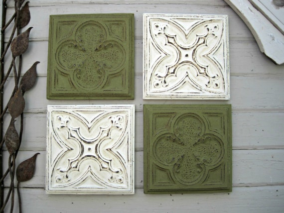 Framed Tiles Set Of 4 Antique Ceiling Tin Tiles Green Wall