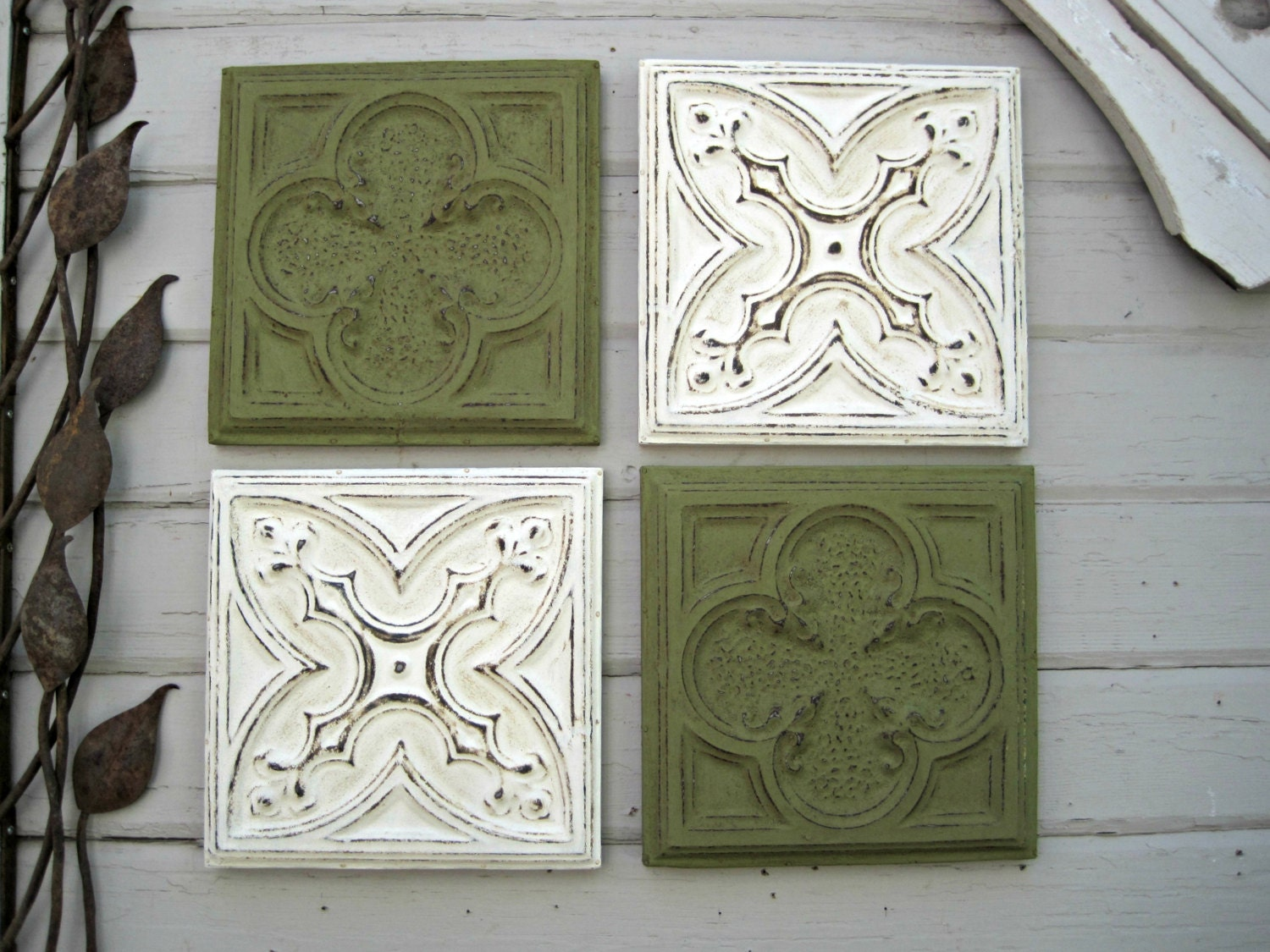 Framed tiles set of 4 antique ceiling tin tiles green wall for Individual ceiling tiles for sale