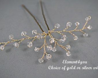 Crystal bridal hair pin, Bridal accessory, Clear crystals, Hair vines, Bridesmaid hair do, Bridal hair do, Crystal pin, Bridesmaid hair do