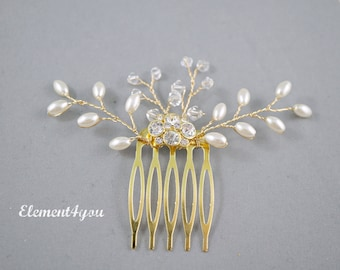 Small gold rhinestone comb, Bridal hair comb, Rice shaped ivory pearl, Hand made wedding accessories, Bridesmaid gifts, Gold hair fascinator