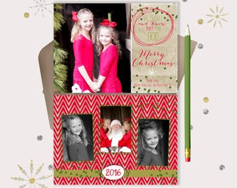 Be Still and Know that I am God Christmas Cards · fun Christian Christmas Photo cards · red chevron and kraft paper
