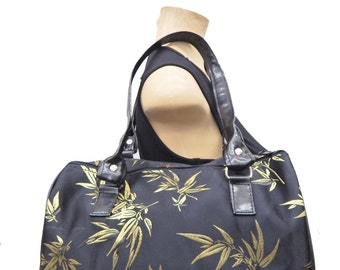 "Handbag Doctor Bag Satchel Style WITH "" LEAF"" Pattern Bag HandBag Purse, Cotton, new,"