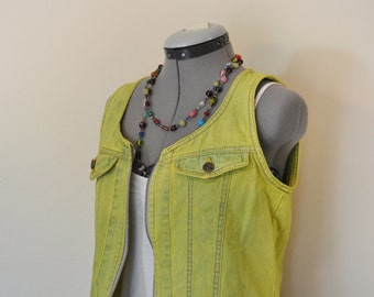 """Yellow Jrs. Large Denim VEST - Lemon Yellow Dyed Upcycled Expressions Cropped Denim Vest - Adult Womens Juniors Size Large (36"""" chest)"""