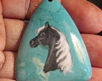 Dapple gray horse painted on gemstone pendant turguoise agate