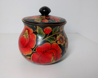 Vintage Lacquered Wood Trinket Box