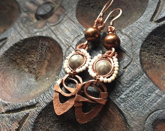 Charming Copper Bits earrings, Copper, Fossil Jasper, Seed Pearls, and Rose Gold Hematite, ThePurpleLilyDesigns