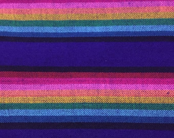 Ethnic Mexican Colorful Bright Blue Striped Fabric Yard Cambaya