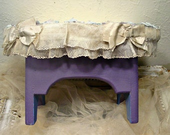Footstool French Foot Stool - French Script - Farmhouse Decor - Vintage Trims - Hand Painted Chalkpaint - Romantic Chic