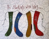 Christmas Stockings Embroidered Quilt Block 12""