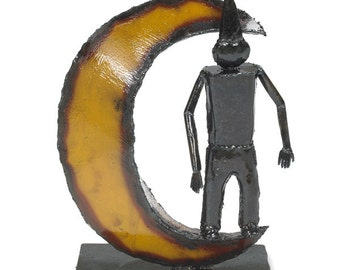 Man in the Moon Metal Sculpture Fairytale Decor