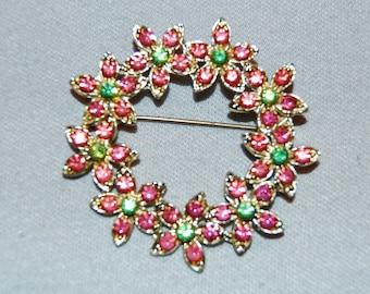 Vintage / Pink / Green / Gold Tone / Flower / Brooch / Rhinestones / old / jewellery / jewelry