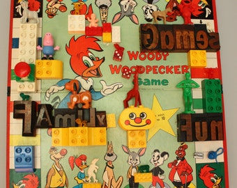 Woody Woodpecker woodtype game board collage