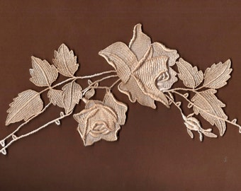 Hand Dyed Venise Lace Rose Applique  Aged Parchment