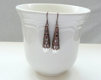 ndb-Pale Pink Glass Pearl Teardrop Dangle Earrings with Copper Cone Beadcap