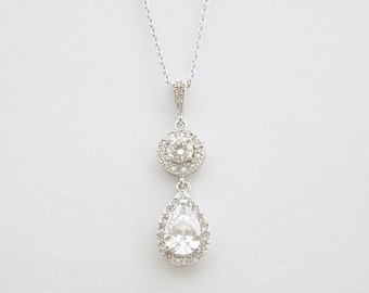 Crystal Drop Pendant Wedding Necklace Crystal Clear Cubic Zirconia Teardrop Pendant Bridal Necklace Wedding Jewelry, Hebe