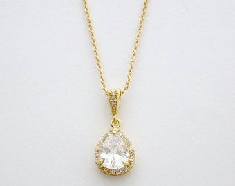 Gold Crystal Necklace Wedding Bridal Jewelry Cubic Zirconia Teardrop Pendant Necklace Gold Wedding Jewelry, Emma