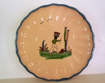 Vintage Tlaquepague Mexican Plate, Hand Painted Man w/ Stick, Cacti Fluted Edge
