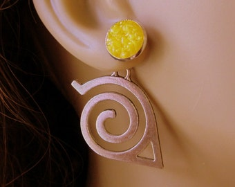 Yellow Tribal Earrings, Swirl Ear Jackets, Silver Double Sided Earring, Large Stylized Arrow, Custom Druzy Reverse Earrings