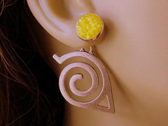 Yellow Tribal Earrings, Swirl Ear Jackets, Silver Double Sided Earring, Large Stylized Arrow, Custom Druzy Reverse Earrings
