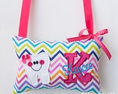 Pink Rainbow Chevron Girl Tooth Fairy Pillow - Custom Monogrammed Colors of Your Choice and Tooth Pocket