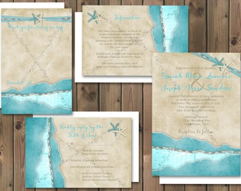 Beach Wedding Invitations Package Destination Invitation Response Card