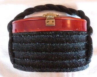 Vintage 1940s 1950s Celluloid/Bakelite and Hematite Glass Bead Purse/Handbag