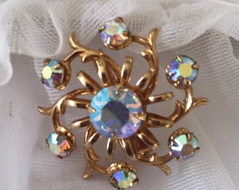 Aurora Borealis Rhinestone Scatter Pin Brooch Estate Jewelry