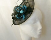 Black and Turquoise Blue Upback Saucer Sinamay Loop Curl Feather & Pearl Fascinator Hat- Made to Order - Royal Ascot -Derby