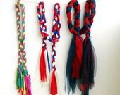Boho style braided headband Braided Scarf necklaces recycled t shirt fringe accessory