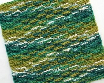 Knit Dishcloth, Cotton Dishcloth, Kitchen Washcloth, Jade Green Kitchen Decor