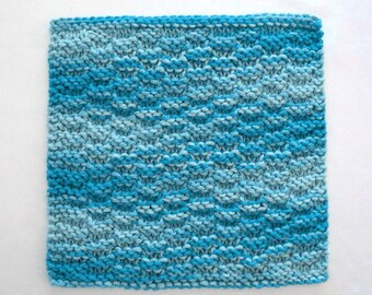 Cotton Dishcloth, Knit Washcloth, Aqua Kitchen Decor, Turquoise Blue