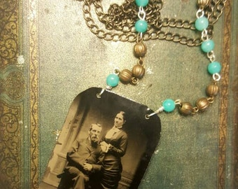 Antique 1890s Tin Type Altered Assemblage Photo Necklace