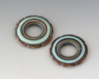 Rustic Ruffle Discs - (2) Handmade Lampwork Beads - Mint, Bone Ivory