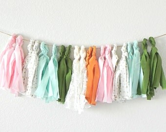 Fabric Tassel Garland Polka Dot Pink Green Gold and Lace / 20 Tassels / Handmade and Reusable / Pink and Green Baby Shower / Nursery Decor