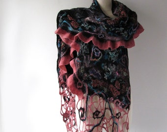 Nuno felted  scarf  Black pink scarf  warm winter scarf floral scarf long shawl by Galafilc