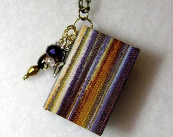 Book Necklace - Book Jewelry - Book Pendant - Book Journal - Handmade Book - Earth Tone Fabric - BN-34