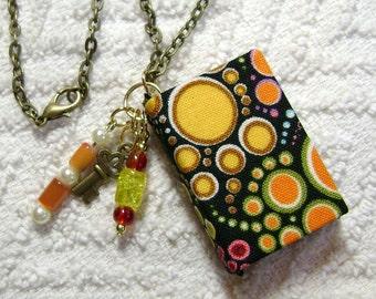 Handmade Book Necklace - Book Jewelry - Book Pendant - Book Journal - Handmade Book - Rainbow Dots Fabric - BN-131