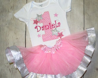 Twinkle Twinkle Little Star Birthday Shirt and ribbon tutu-Cake Smash Outfit-Pink and silver Glitter Sparkle Birthday Shirt or Bodysuit