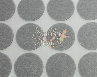 Adhesive Felt Circles, felt dots, 1.5 inch felt for headbands and bows, 12 felt dots per sheet - Gray