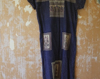ON SALE Vintage. 70s Indian Blue 70s Hippie Shirt Boho Long Tunic Dress // S to M