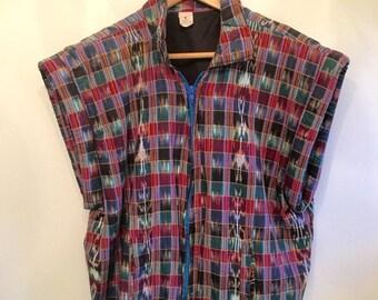 ON SALE Vintage 70s Guatamelan IKAT Jacket Vest • Cotton Vest • Colorful Vest • Retro Avant Garde
